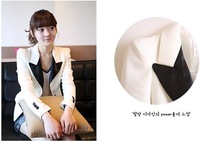 Женская куртка women casual foldable long sleeves white black blazer coat lady fashion Slim OL suit outerwear
