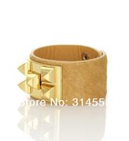 Кожаный браслет MUST HAVE Punk Style Leather with Fur Cuff Bracelet, Hot Sale Wrap Bracelet