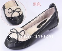 Spring/Autumn Newest Design High Quality PU Bowtie Warm Short Plush Loafers Fashion Flats 5 colors size 36-41
