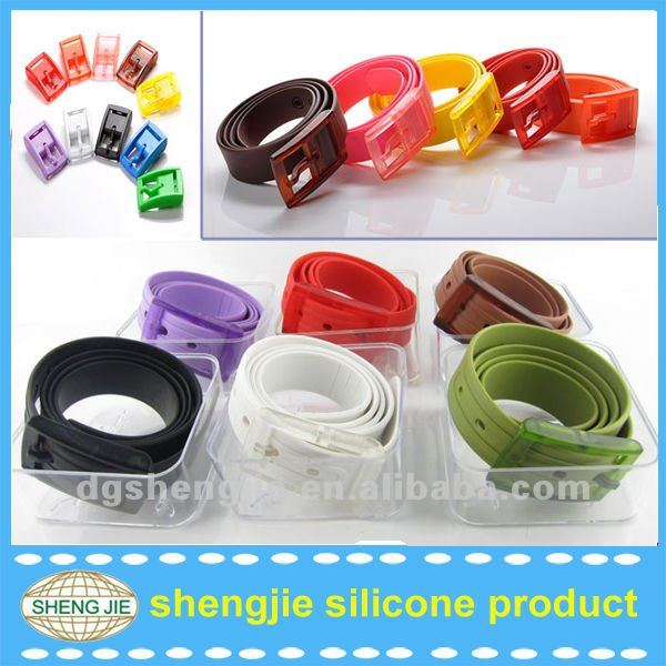 Candy colors silicone fashion belt silicone belt with plastic buckle