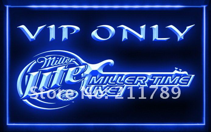 W0827 B Miller Time Live VIP Only Beer Neon Light Sign.jpg