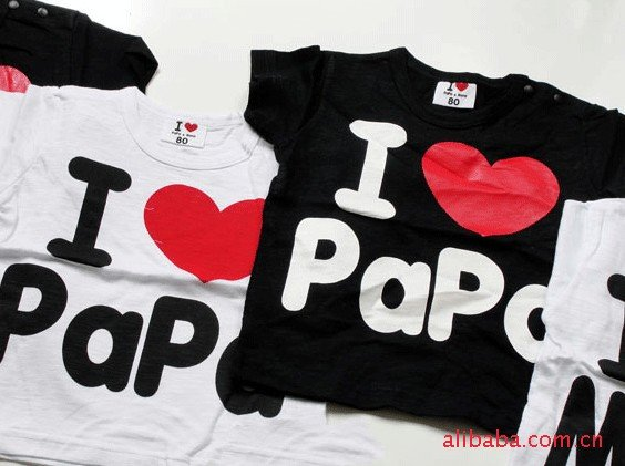 Hot~ I love papa I love mama t-shirts babys T-shirts boys girls t-shirt  AAM