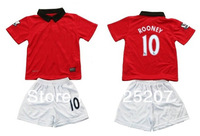 Футбольная футболка для мальчиков kids soccer jerseys sets Rooney 10 children soccer Uniform youth kits red shirt with V.PERSIE #20