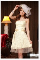 Free shipping! New Tube dress Party dress bridal wedding dress Lace Champagne&White&Red Cocktail Dresses 869-1