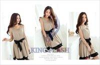Женское платье 2012 New Korean Fashion Women's Lotus Leaf Round Neck Full Skirt Mini Dress
