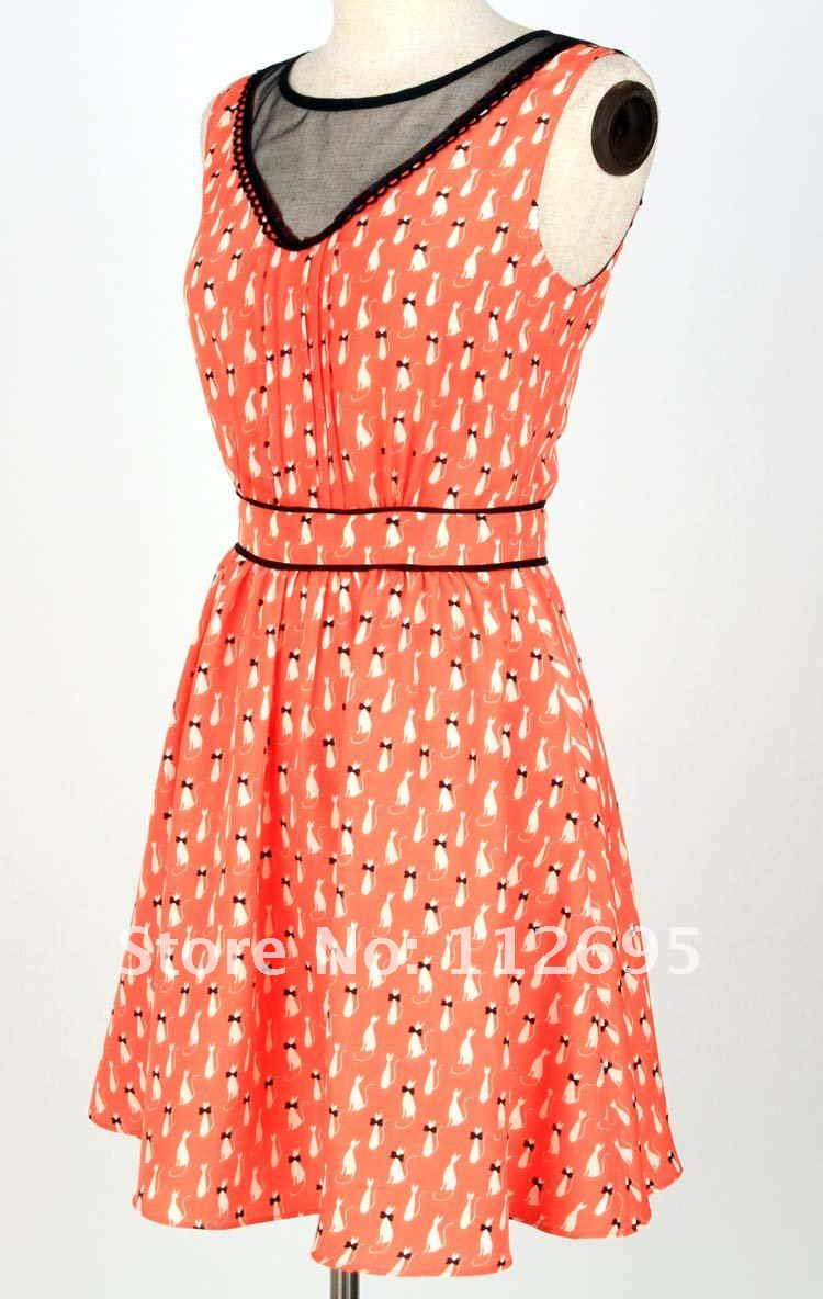 2012 New arrival high summer print crepe fitted dress, available stock goods with quick delivery