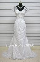 Hot Sale Elegant 2012 Plus Size White/Ivory Mermaid V-Neck Satin Applique Dress Bridal Court Train Gowns Wedding Dresses#058
