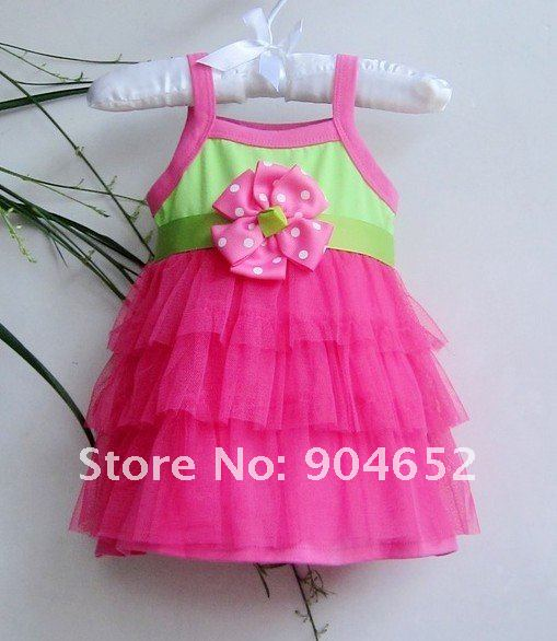 Pre-order wholesale 2012 dress baby girl's branded design Summer cute  pink chiffon cake princess party dresses free shipping