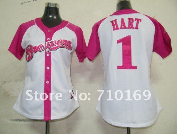 Milwaukee Brewers 1 Hart Fielder Womens Pink Splash Fashion Jersey.jpg