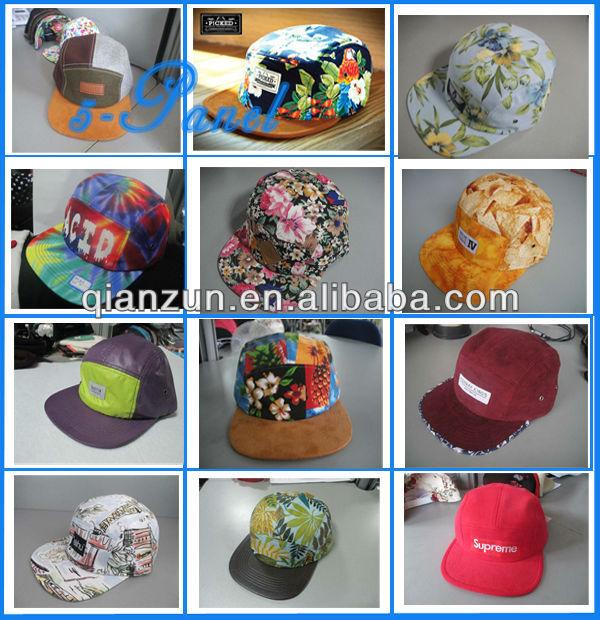 New Oem Custom Suede Brim Floral 5 Panel Cap/Hat Ajustabel Snapback Cap/Hat With Woven Label