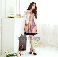 Женское платье 2012 New Korean Fashion Women's Lotus Leaf Round Neck Full Skirt Mini Dress