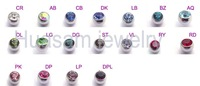 Stainless steel threaded ear plugs TUNNELS Mixed color and size body jewelry 96pcs/lot