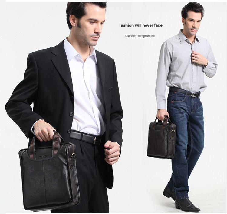 FREE SHIPPING 100% GENUINE LEATHER Cowhide Shoulder Leisure Men's Bag