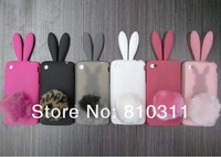 Чехол для для мобильных телефонов factory price, For Apple Ipod touch 4 Rabbit cartoon TPU case, with rabbit tail and Retail packaging, 1pcs min order