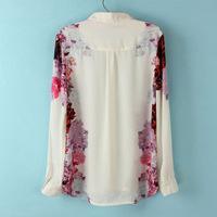 Женские блузки и Рубашки Women Casual Flower prints Chiffon Shirts fashion Blouse SW2007-I02
