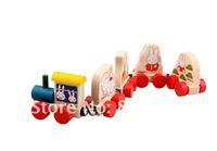 Free shipping Mini wooden animal train