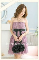 free shipping New 2012 Elastic cake Chiffon Dress  pink or white dress YJ203