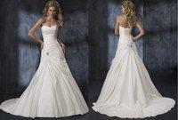 Free shipping sexy sweetheart lace-up back ruffle bridal dress