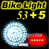 Фара для велосипеда Mail + 1PC MX-53 LED Bicycle light White 4 Mode 53 LED Bicycle Lamp By 3*AA Outdoor Waterproof Riding Hiking Bicycle light