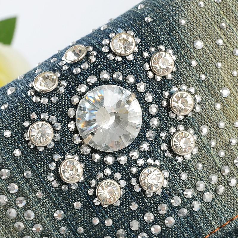 Женщины Джинсовый мешки с стразами Весна джинсы сумочку небольшое винтажные сумки на плечо для девочек w150