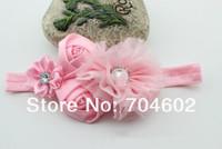 MOQ 1 Set Double Satin Fabric flower With Pearl child headband princess hair accessory Freeshipping FDB54