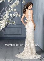 Свадебное платье 2013 Ivory white Lace V Neck Backless Wedding Dresses Size : 6, .8, 10, 12, 14