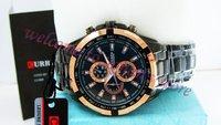 Наручные часы packbox/New brand Round Dial Steel Band Men's Quartz Wrist Watch/8023 Wrist Watch/black band gold case/casual