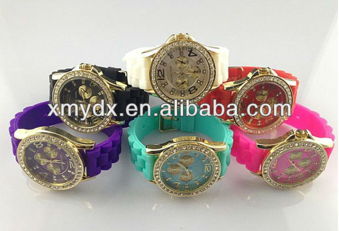 2013 MK Chinese Silicone Diamond watch made in China, 1 piece for MOQ
