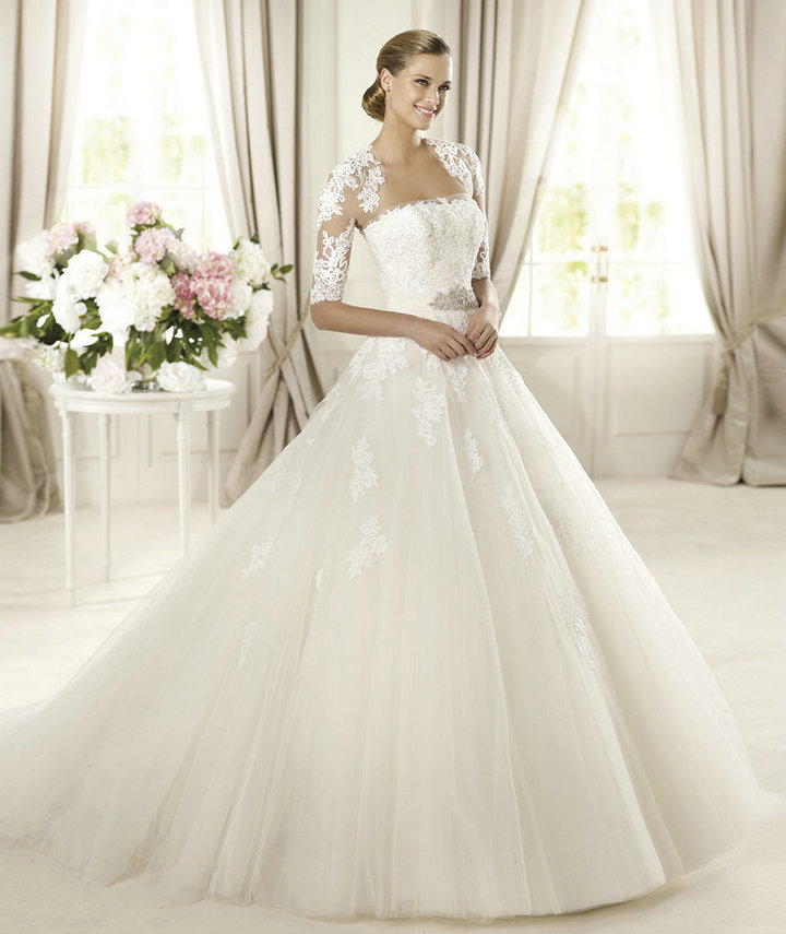 Ball Gown Ivory Tulle Lace Bridal Wedding Dress With Long Sleeve Jacket 2013