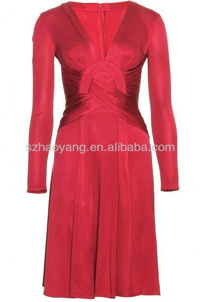 high fashion ladies V neckline tight fit designer red dresses