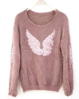 Женский пуловер O-Neck Long Sleeve Angel Mohair Knitwear Average Size Beige/Pink Pullover Thin Sweater Spring/Autumn Women Tops 1 PC