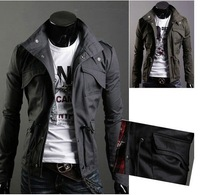 2012 New arrival Men's Casual Stylish Slim Fit Zip Coat Jacket Cotton Blends Dark Gray M XXL 3393
