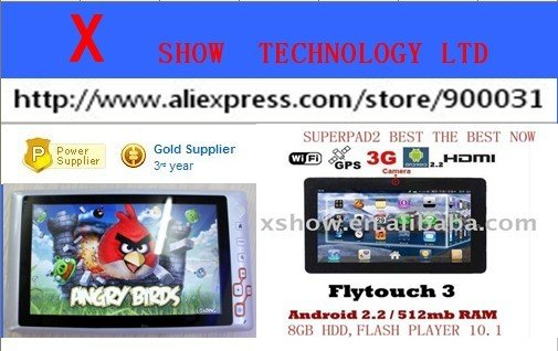 freeshipping   android 2.2 7 inch flash player   pc  MID tablet pc 1.3m 3g supported g sensor 6color aviliable