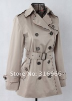 Женский тренч Plus Size Classic Double Breasted Mid-Long Fashion Women's Trench Coat Retail 81021
