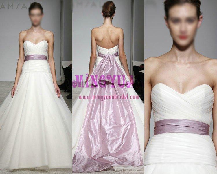 white organza with purple ribbon delicate wedding dress ek309