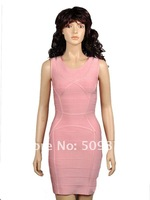 Платье знаменитостей In Stock! Hot Sale Sexy Sheath Round Collar Pink Elastic Bandage Short Celebrity Evening Party Dress A-0775