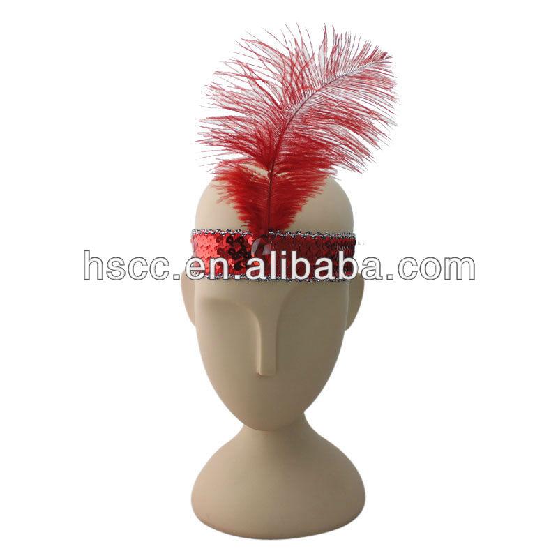 Fantasia pena branca carnaval princesa cocar carnaval Feather headband cocar indígena para venda