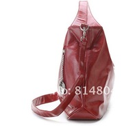 Free shipping Pure Color Zipper Embellished Large Capacity Bag Red MB12082302
