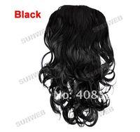 """женщин длинные 24"""" половину головки 1/2 головы тела волнистые clip реверсивные парик волос кусок с rhinestone коготь шпилька 7241"""