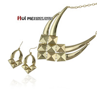 Free Shipping Min Mix Order $10 New Arrival Vintage Women Shiny Link Statement Drop Earring & Choker Necklace Jewelry Sets
