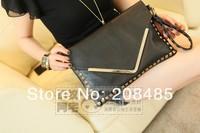 Детали и Аксессуары для сумок Bags female women's handbag fashion vintage rivet envelope bag day clutch shoulder bag laptop PU leather