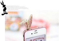 Пылезащитная заглушка для мобильных телефонов Cell Phone Accessories Phone Jewelry Rhinestone Bunny Ear Dust Plug