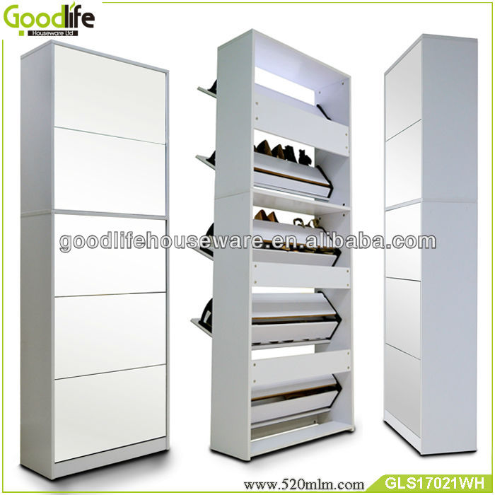 Wooden shoe cabinet GLS17021(3+2) with full length mirror from guangdong