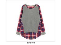 Женская футболка New Fashion Women Womens Loose Cotton Plaid Long Sleeve Blouse Top Shirt S M L