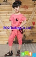 Детская Одежда лето новых девочек baby кружева повседневные двухсекционный моды задает дети футболку и брюки костюмы БОС