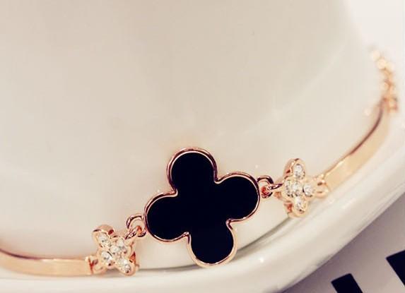 משלוח חינם 2013 אופנה נשים תכשיטים ארבע עלה של תלתן עין החתול צמיד עור צמיד