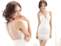 Женское платье Drop shipping/Deep V/nets yarn/low back/white/vest skirt/dress/women's dress/RG1203163