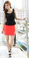 Wholesale Cheap Fashion New Arrive Korean Style Roses Falbala Elegant Close Over Hip Montage Short Dress (1206443)