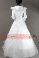 Свадебное платье 2012 high quality wedding dress floor length bridal dress sweep brush train sleeveless strapless bow flower A141