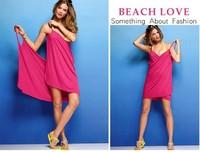 Женская туника для пляжа 2013 New Sexy Women Open-Back Wrap Front Swimsuits Bikini Cover Up Beach Dress